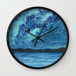 """Sea Glass Galaxy"" watercolor landscape painting Wall Clock"