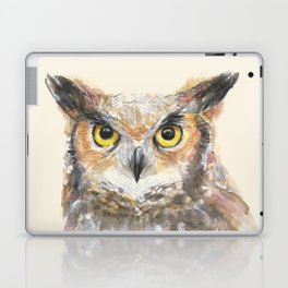 Owl Watercolor Great Horned Owl Painting Laptop & iPad Skin
