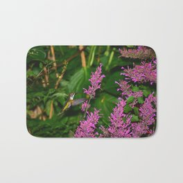 Hummingbird and agastache flower 60 Bath Mat