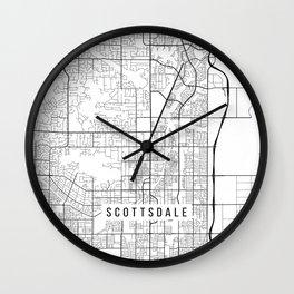 Scottsdale Map, Arizona USA - Black & White Portrait Wall Clock