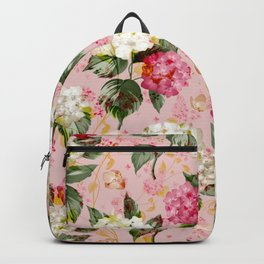 Vintage green pink white bohemian hortensia flowers Backpack