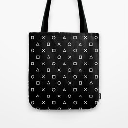 Gamer Pattern (White on Black) Tote Bag