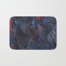 Black and White Ink on Blue and Red Background Bath Mat