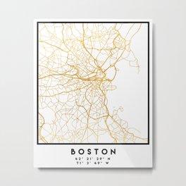 BOSTON MASSACHUSETTS CITY STREET MAP ART Metal Print