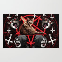 satanic cat pentagram death black metal band exorcist Rug