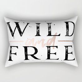 Wild and Free Rose Gold on White Rectangular Pillow