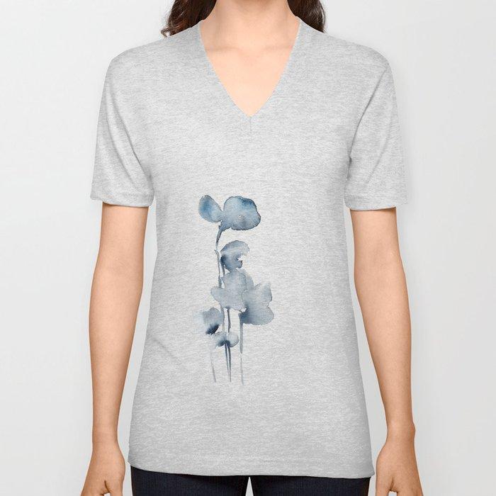 Blue grey florals Unisex V-Neck