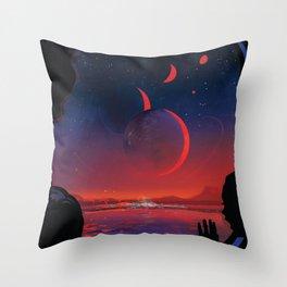 NASA Retro Space Travel Poster #13 - TRAPPIST-1e Throw Pillow