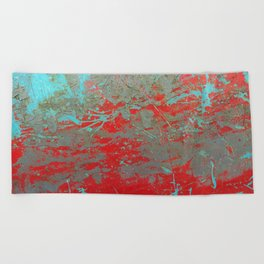 texture - aqua and red paint Beach Towel