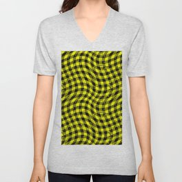 Wiggly Yellow and Black Speckle Check Pattern Unisex V-Neck