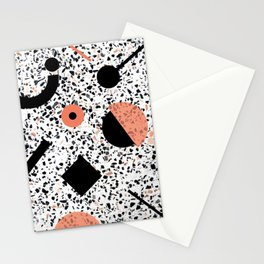 Terrazzo Stone Pattern Memphis Style Orange and Black Stationery Cards