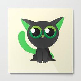 Green Kitty Cat Cute Kids Design Metal Print