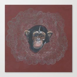 Cute Chimp Monkey Head  Canvas Print