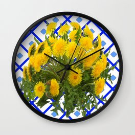 Yellow Blooming Dandelion Flowers On Delft Blue Tile Wall Clock