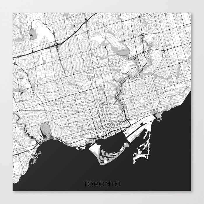 Toronto map gray canvas print by hubertroguski society6 gumiabroncs Image collections