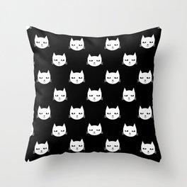 Cat minimal illustration pet cats head drawing digital pattern black and white nursery art Throw Pillow