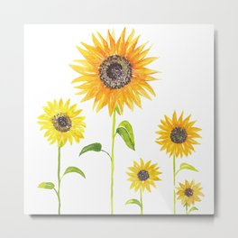 Sunflowers Watercolor Painting Metal Print