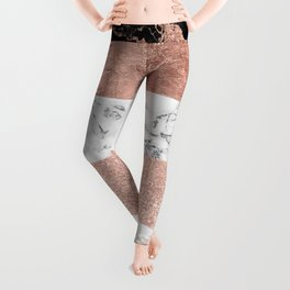 Modern chic color block rose gold marble stripes pattern Leggings