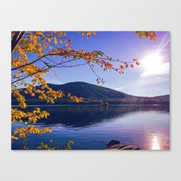 Fall Foliage at Moose Pond in Bridgton, Maine Canvas Print
