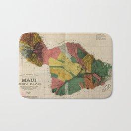 Vintage Map of Maui Hawaii (1885) Bath Mat