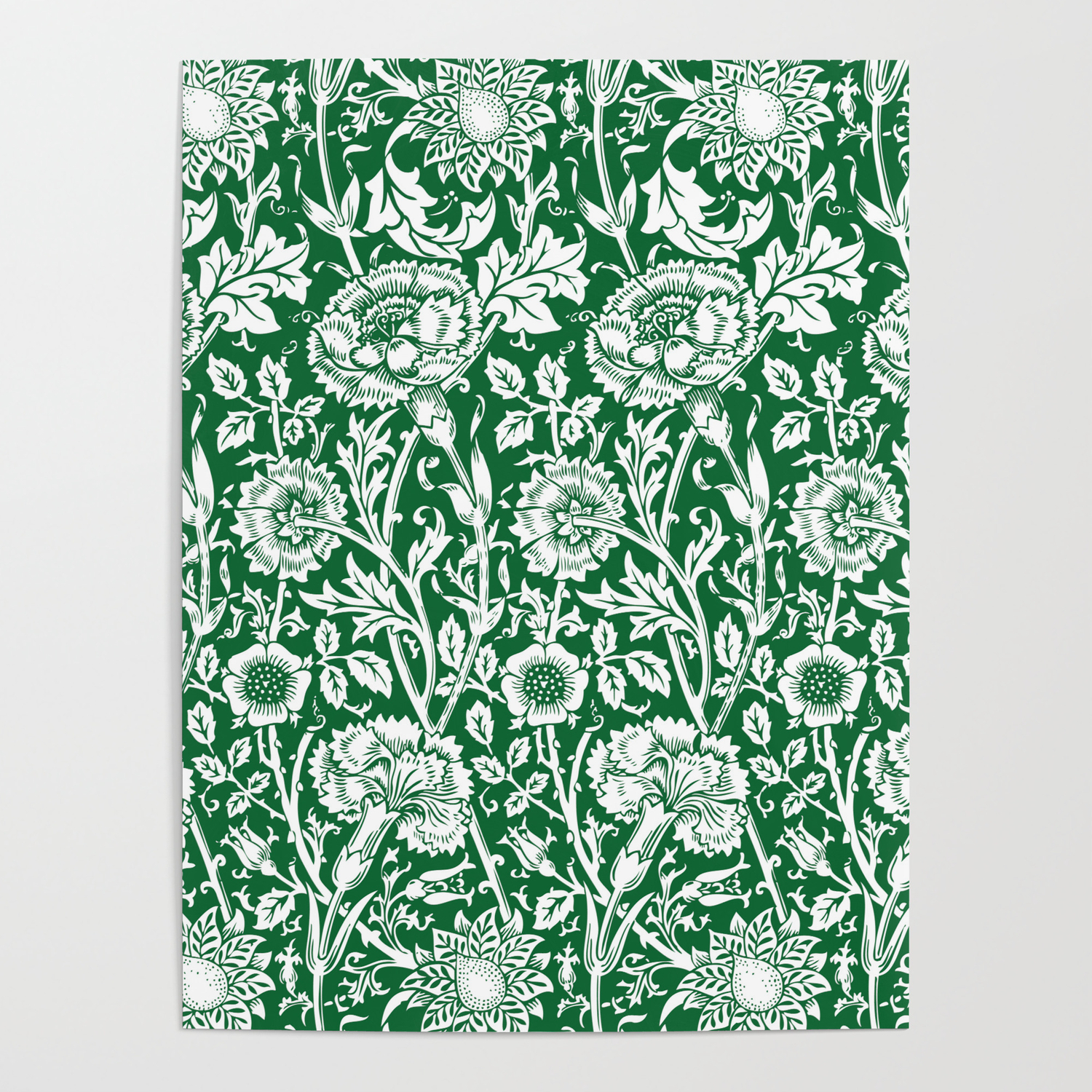 William Morris Floral Pattern Pink And Rose In Green And White