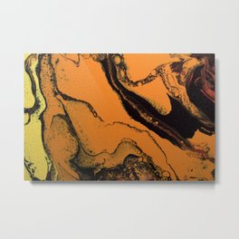 Dirty Acrylic Pour Painting 07, Fluid Art Reproduction Abstract Artwork Metal Print
