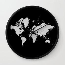 Minimalist World Map Gray on Black Background Wall Clock