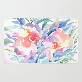 Floral watercolor Rug