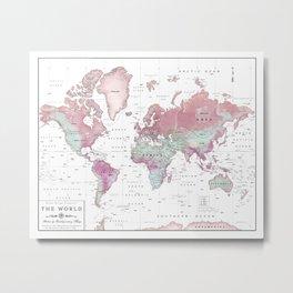 World Map Wall Art [Pink Hues] Metal Print