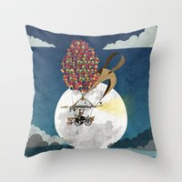 brompton Throw Pillows featuring Flying Bicycle by Wyatt Design