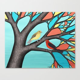 scarlet tanagers in the stained glass tree Canvas Print