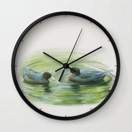 Blue Ducks in pond Wall Clock