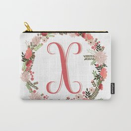 Personal monogram letter 'X' flower wreath Carry-All Pouch