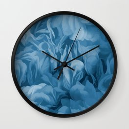 Midnight Blue Petal Ruffle Abstract Wall Clock