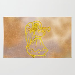 Golden Angel with trumpet Rug
