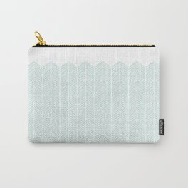 Hand drawn Herringbone in Aqua Carry-All Pouch