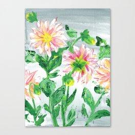 Dahlias on a cloudy day Canvas Print