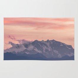 Pink And Blue Pastel Mountains Sky Landscape Sunrise Landscape Rug
