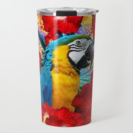 Red Hibiscus Flowers & Blue Macaw Parrot Travel Mug