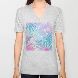 Pastel Rainbow Tropical Paradise Design Unisex V-Neck