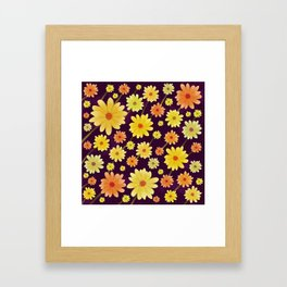 Yellow dots, Yellow Flower, Floral Pattern, Yellow Blossom Framed Art Print