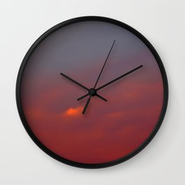 Red cloud shining at sunset Wall Clock