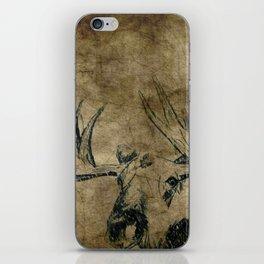 Moose Woodland Illustration Textured Fine Art iPhone Skin