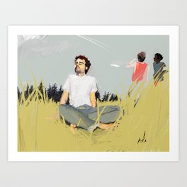 while they watched the planes Art Print
