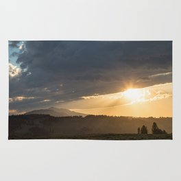 Yellowstone National Park - Sunset, Blacktail Deer Plateau Rug