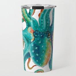 Octopus Tentacles Teal Green Watercolor Art Travel Mug