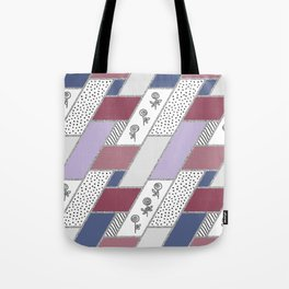 Abstract hand drawn geometric pattern with glitter pink and blue Tote Bag