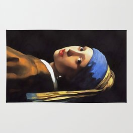 Girl with a Pearl Earring After Johannes Vermeer Rug