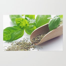 Basil herbs for kitchen Rug