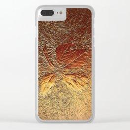 Rust glitter leaves in fall Clear iPhone Case